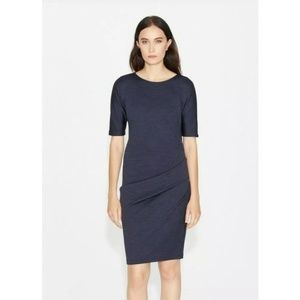 Halston Heritage Ponte Side Pleat Dress